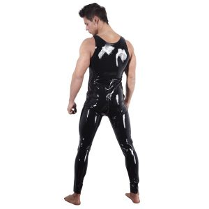 latex bodysuit til mænd med lange latex ben