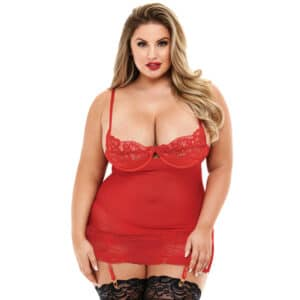 baci open cup chemise red plus size jule lingeri