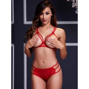 baci strappy open bra set red jule lingeri