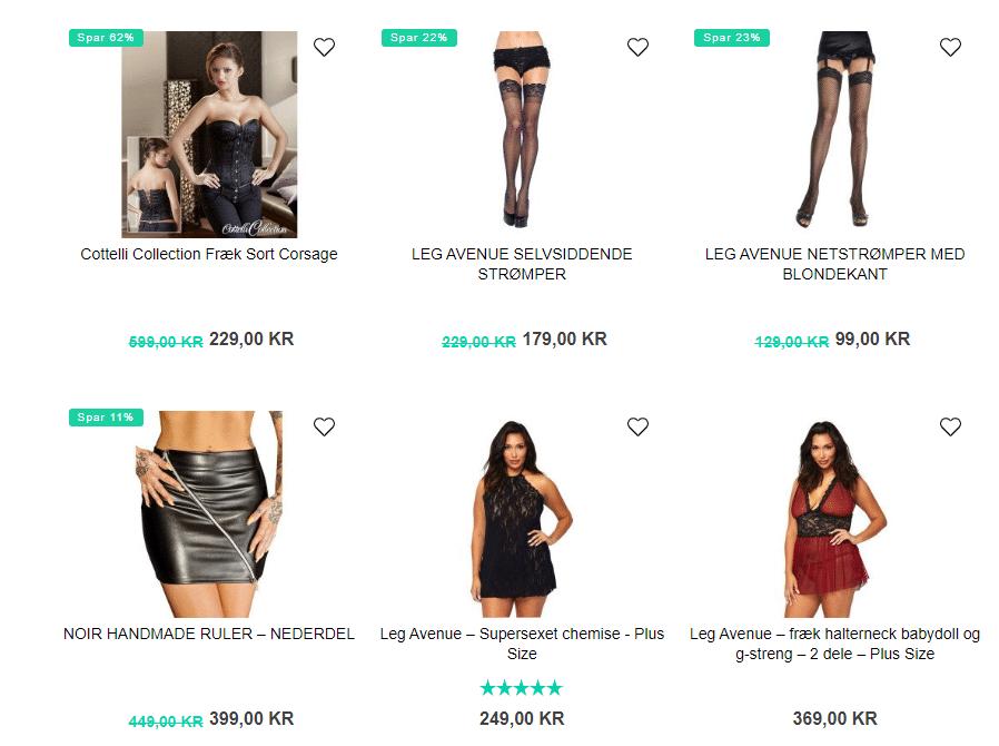 udvalg af frækt tøj til kvinder med former