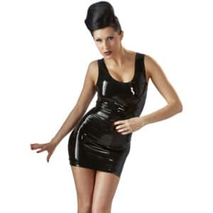 late x short latex dress