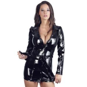 black level vinyl coat dress
